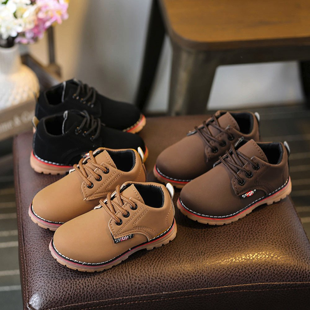 Kimloog Toddler Boys Girls Leather Bootie Waterproof Lace-Up Flat Ankle Shoes