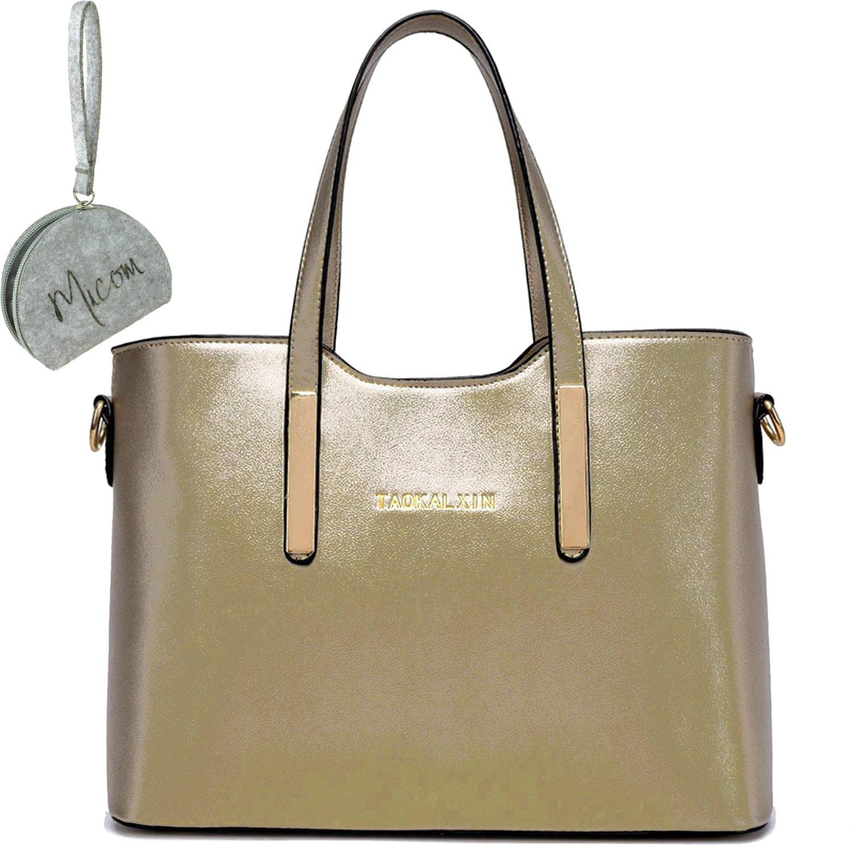 Micom Simple Euro Style Pure Color Pu Leather Tote Shoulder Handbag for Zip  Pouch Women Bag (Gold)  Amazon.co.uk  Shoes   Bags 6d16e19cdc