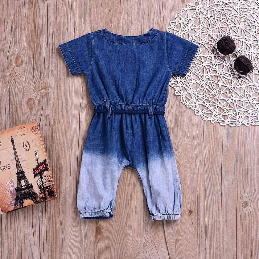 FreshZone Newborn Casaul Clothes Baby Girls Boys Gradient Color Jeans Denim Romper Jumpsuit