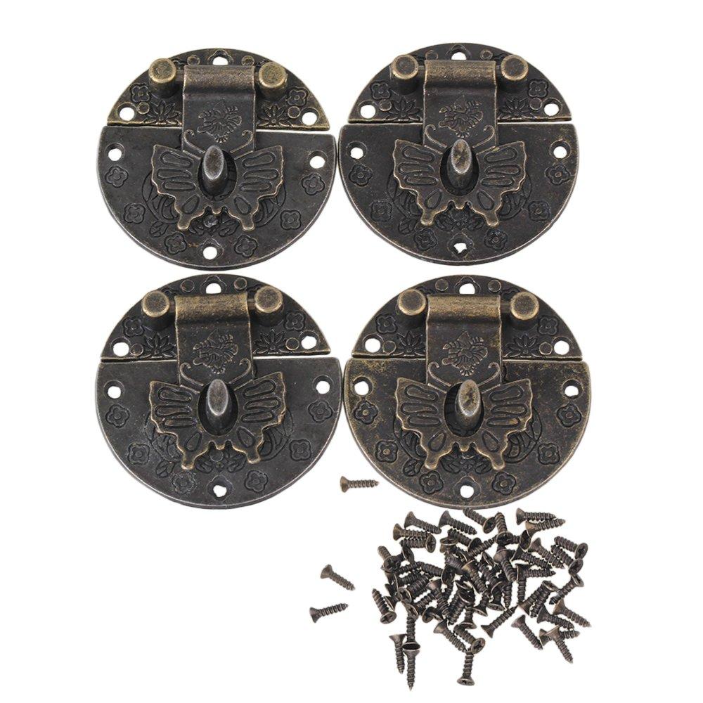 BQLZR 38 x 38 mm bronce Vintage mariposa cierre caja maleta Lock Latch hasp Pack de 4 BQLZRN23048