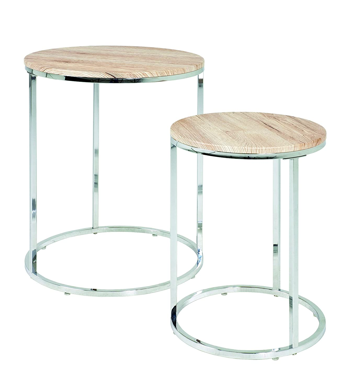 Haku Möbel 33384 Lotto di 2 tavoli bassi in acciaio/MDF cromato/bianco 50 cm