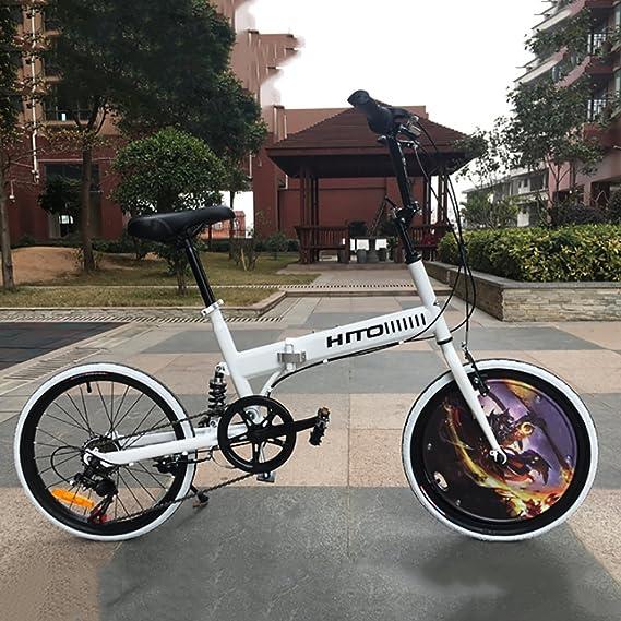 20 pulgadas Bicicleta plegable Amortiguador Off-road El neumático Bicicleta de montaña Bicicleta de señora adulta masculina y femenina-Blanco ...