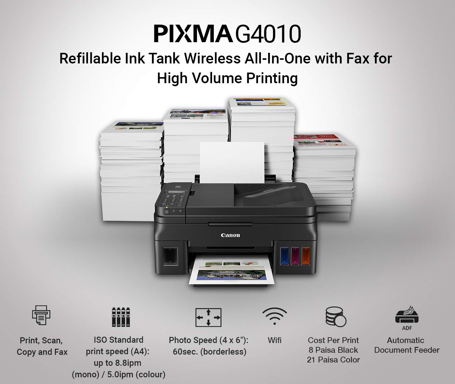 Buy Canon Pixma G4010 All In One Wireless Ink Tank Colour G3000 Wi Fi Printer Online At Low Prices India Reviews Ratings