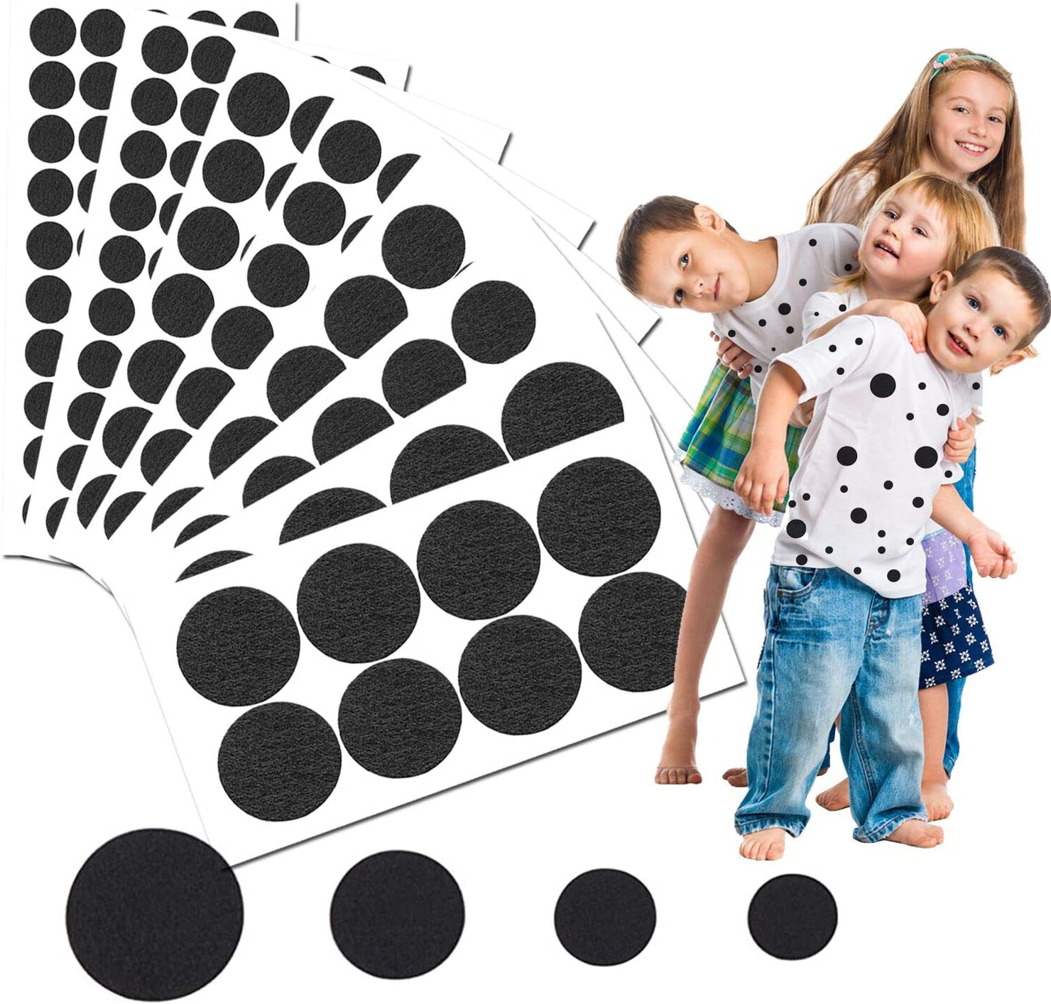 6 Sheets Adhesive Felt Pads Spotty Dog Style Felt Irregular Shape DIY Felt for Halloween DIY Projects Costume Black