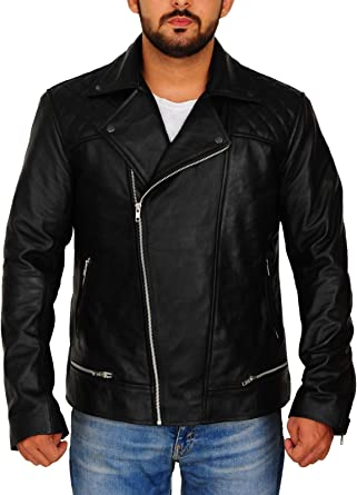 TrendHoop New Men Moto Style Quilted Motorcycle Genuine Leather Jacket