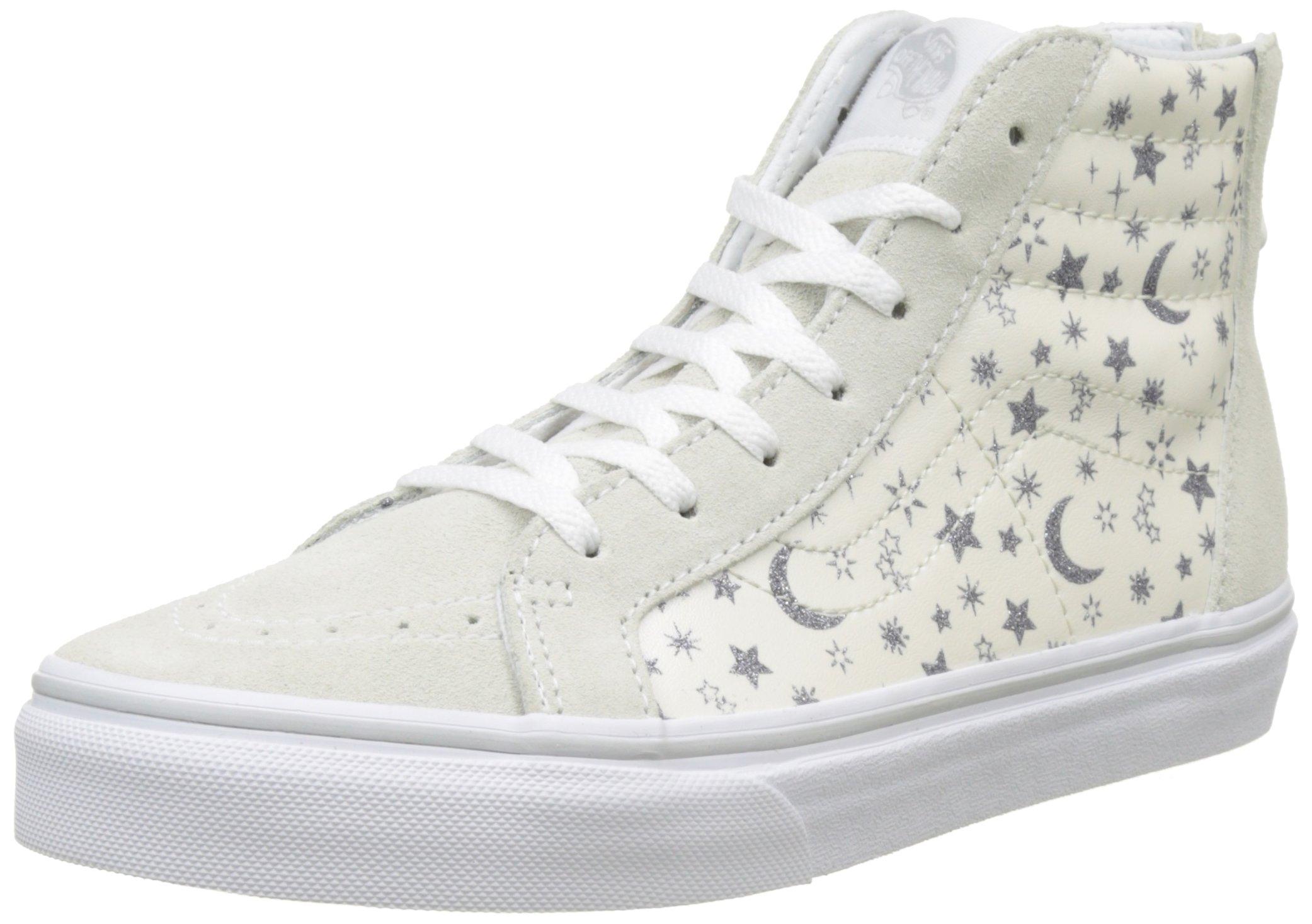 Vans Kids Sk8-Hi Zip (Star Glitter) White Skate Shoe 13.5 Kids US
