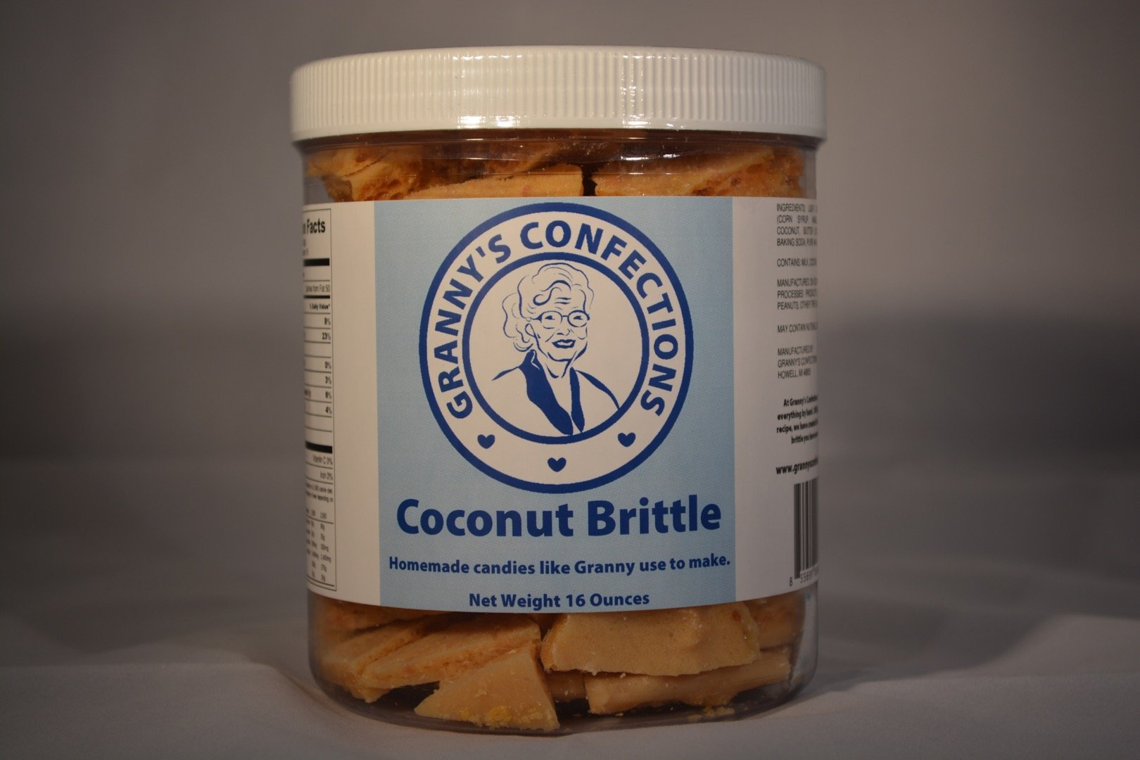 Handmade - Coconut Brittle Handmade with Organic Coconut – Voted Best Brittle – One Pound Container (16oz).