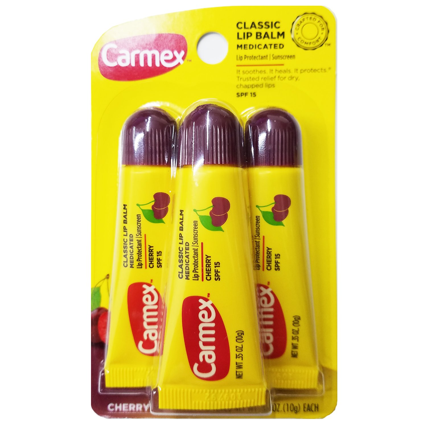 Carmex Classic Lip Balm Cherry 0.35oz, Medicated 3 Count Pack (2 Pack) Carma Laboratories Inc