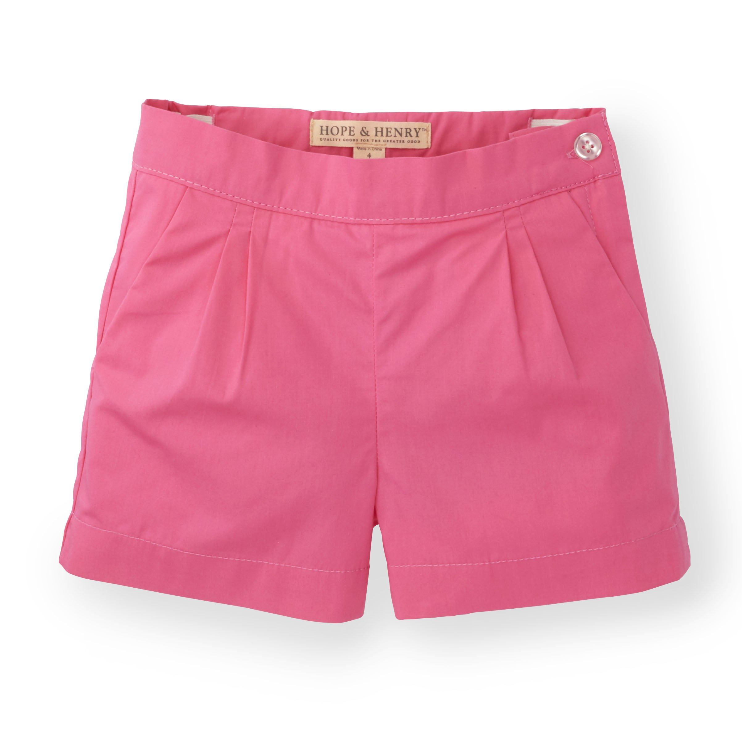 Hope & Henry Girls' Pink Pleat Short Made with Organic Cotton