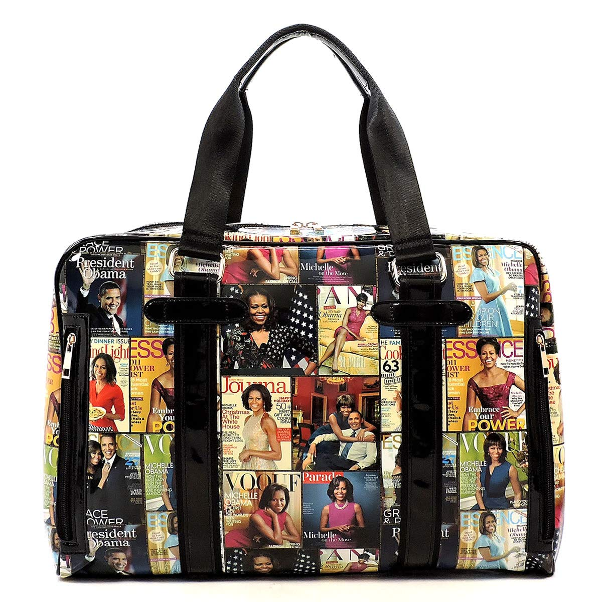 Glossy Magazine Cover Collage Michelle Obama Printed Travel Duffel Bags Gym Bags Duffel #1-Grey