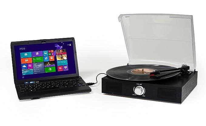 Jocca 1157 - Tocadiscos con conexión USB para digitalizar vinilos de Forma rápida y Sencilla, Color Negro