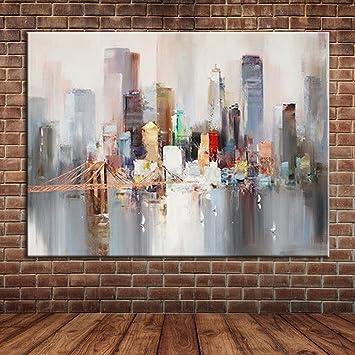 Ttkx At Paisaje Moderno New York Bridge Pintado A Mano De La Lona