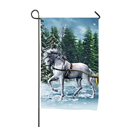 frank marner garden flagholiday christmas horse white sleigh snow winterwelcome quote - Christmas Horse Yard Decorations