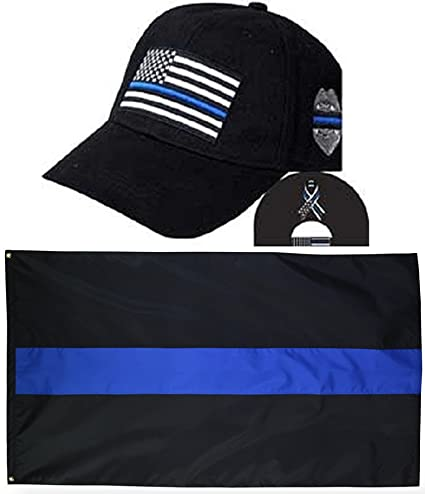 7e4936b6 MWS Thin Blue Line USA Police Memorial Ribbon Badge Fallen Black Officers  Embro Hat Cap &