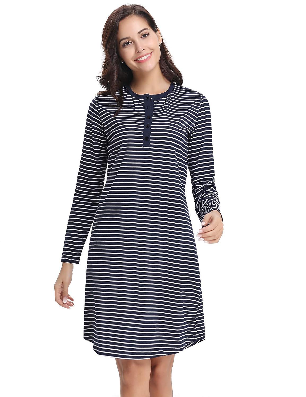 Aibrou Damen Nachthemd Nachtkleid Kurz Gestreift Umstandskleid Stillnachthemd Sleepshirt Baumwolle Nachtwäsche Langarm mit Knöpfeleiste