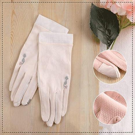 Rebily Protección UV verano puro tela de algodón fino de protección solar guantes de las mujeres del algodón puro respirable elástico antideslizante corto párrafo del verano de montar a caballo de con: