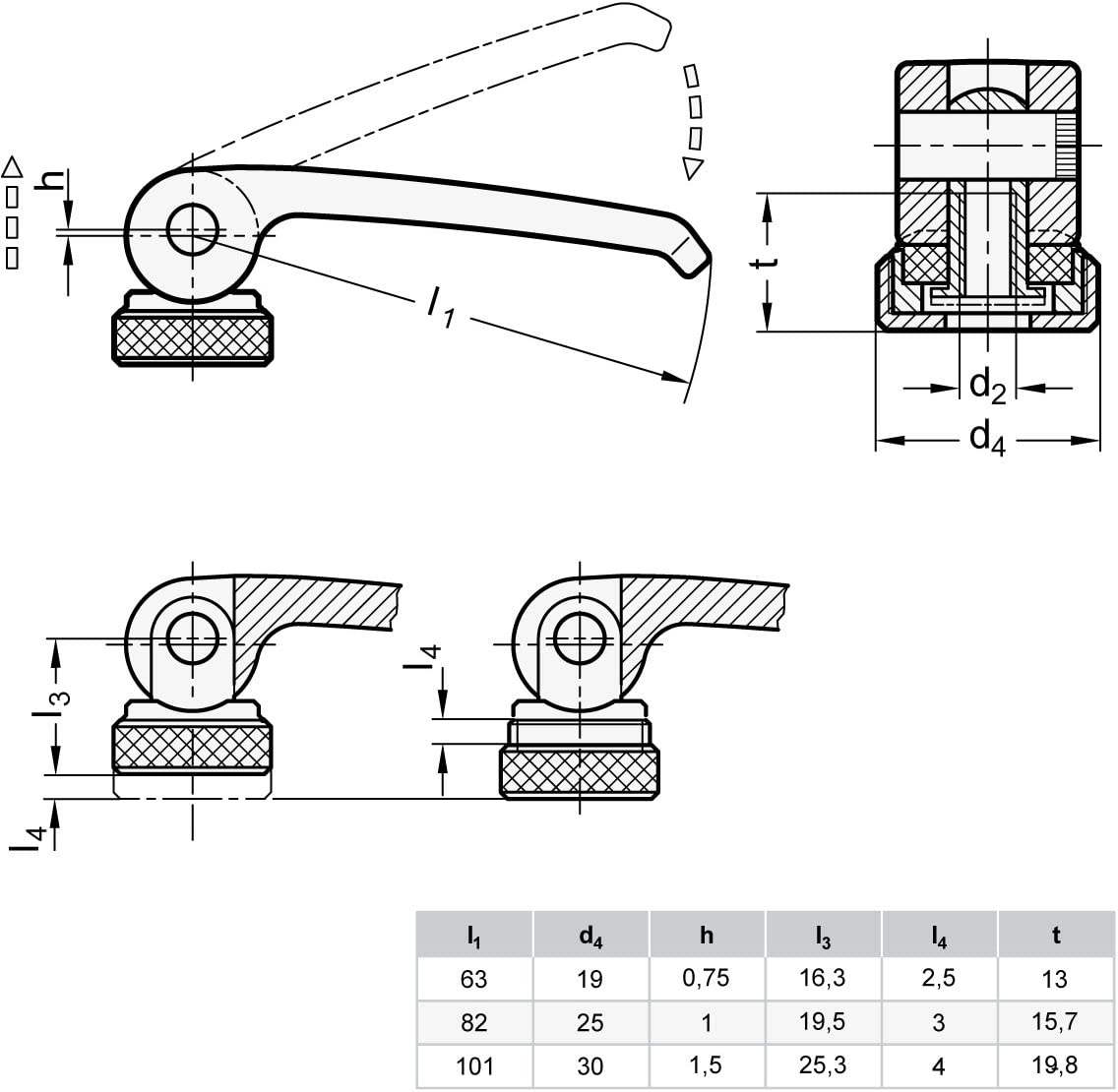 GN 927/ D934-M10-A2/ A-B / Eccentric Clamps with Female Thread/  / 1/ x Black Ganter Standard Elements/