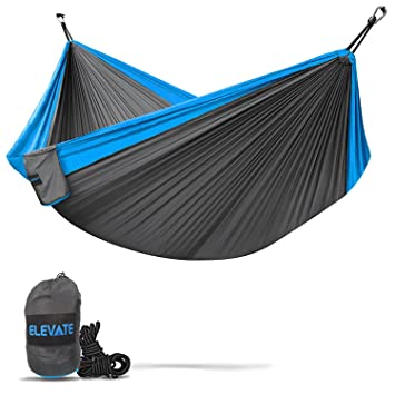 elevate double camping hammock   lightweight nylon portable hammock best parachute double hammock for backpacking amazon    elevate double camping hammock   lightweight nylon      rh   amazon