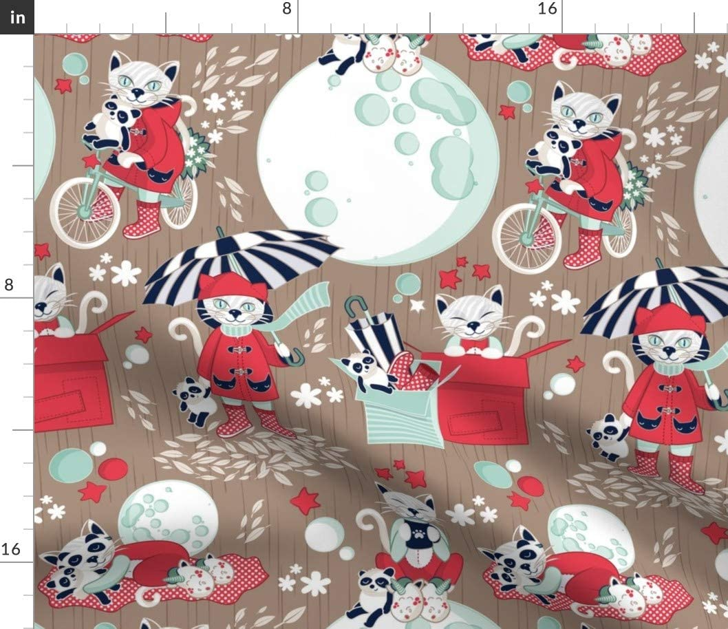 Amazon Com Spoonflower Fabric Cat Red Panda Kitty Kittens Winter Mod Coloring Book Rustic Fall Printed On Performance Pique Fabric By The Yard Performance Athletic Apparel Fashion