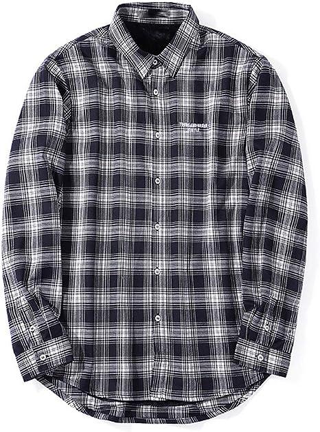 XYZJIA Camisa de Gran tamaño Camisa cálida Camisa a Cuadros más Camisa de Terciopelo, Blanco y Negro, 5XL: Amazon.es: Hogar