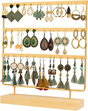 earring organizer jewelry box wood earring stand wooden display rack earring holder jewelry storage earring wooden free standing rack