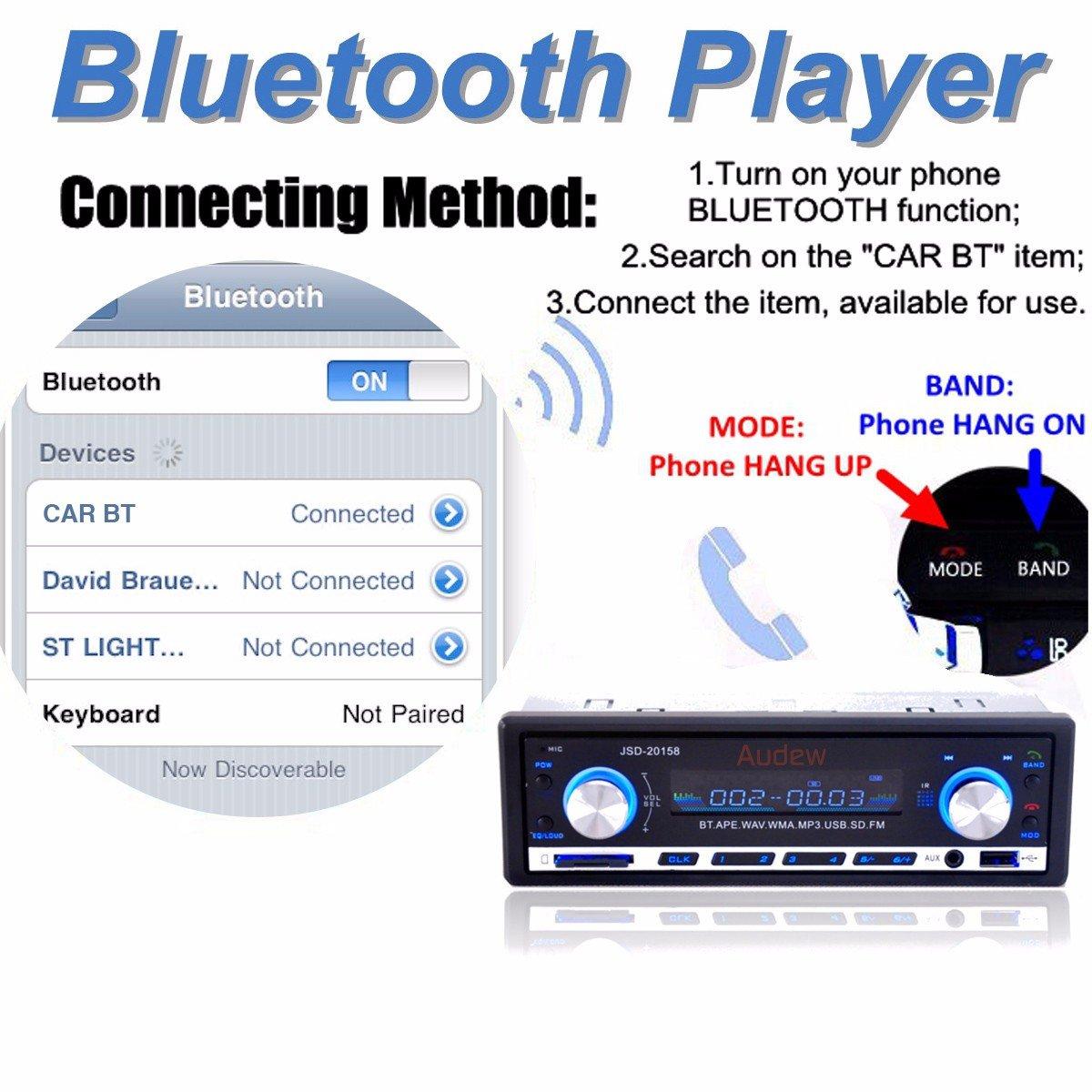Audew Auto Radio Coche Bluetooth Estereo In Dash AUX USB SD Reproductor Audio MP3