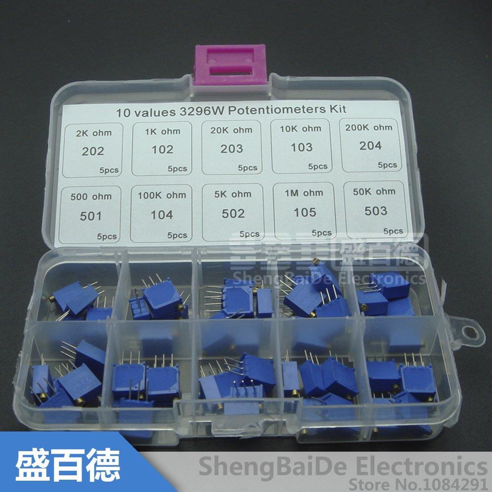 50pcs 3296X-202 2K Precision Multi-Turn Adjustable Potentiometer