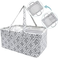 NXY Baby Diaper Caddy Organizer, 17.5 x 13 x 8.7 inch, Extra Large Grey Portable Diaper Holder, Grey Canvas Tote With 10…