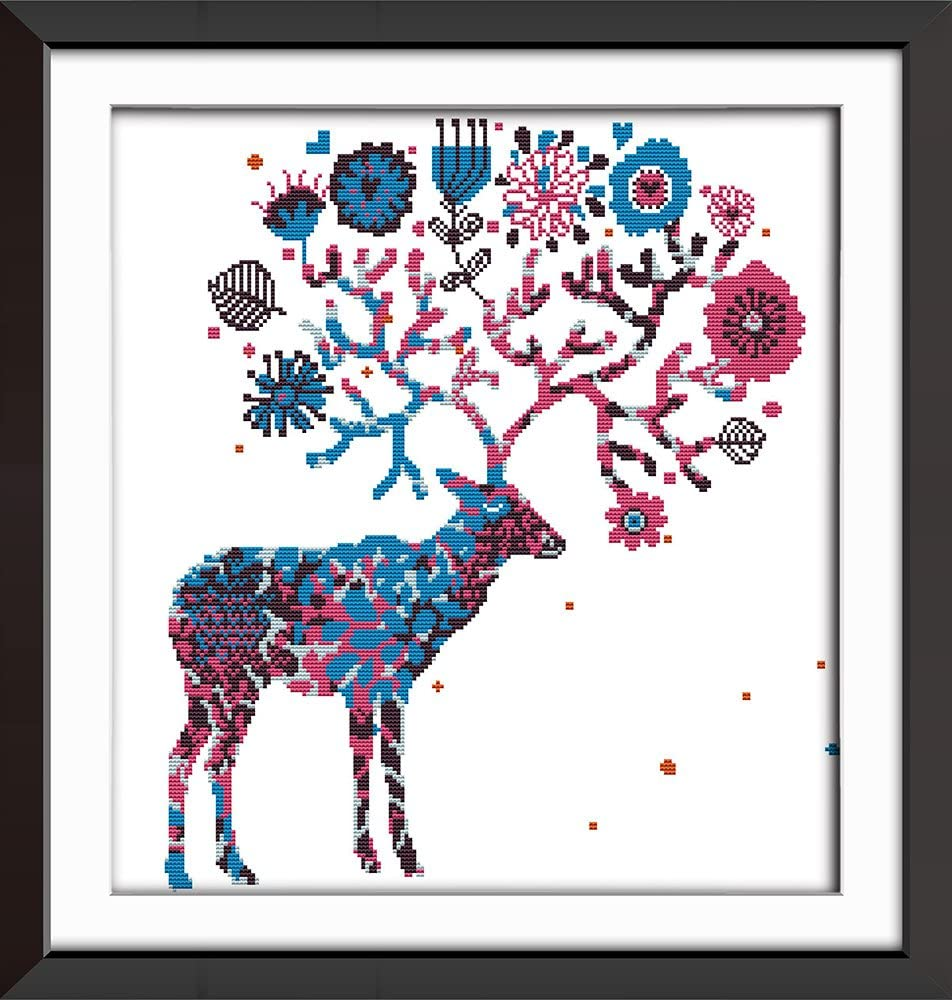 Cross Stitch Kits, Elk Deer Animals Awesocrafts Easy Patterns Cross Stitching Embroidery Kit Supplies Christmas Gifts, Stamped or Counted (Deer, Stamped)