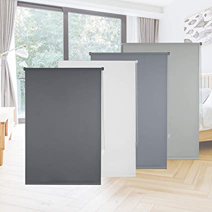 Eugad E675 Blackout Roller Blind Klemmfix No Drilling Required Side Pull Blind With Accessories And Coating Sun Protection Etc Roller Blind For Windows And Doors Choice Of Colours And Sizes 50x160 Cm