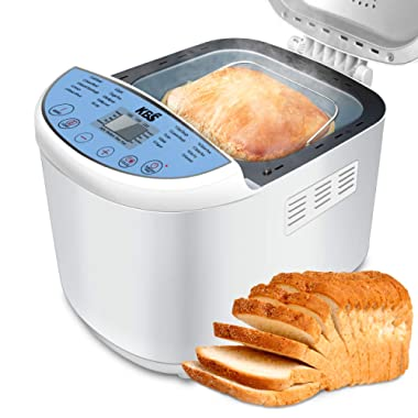 KBS Automatic Upgraded Bread Maker Machine, 19 Programs Including Gluten-Free Setting, 3 Crust Colors, 15 Hours Delay Time, 1 Hour Keep Warm, Easy Operation, 2 LB Large Capacity for Home Bake