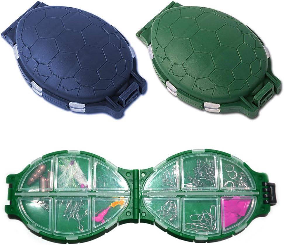 Delight eShop 12 Compartments Plastic Turtle Fishing Lure Hooks Storage Tackle Case Box Pocket