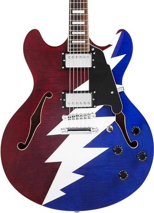 DAngelico Premier Grateful Dead DC Guitarra eléctrica semihueca, color rojo, blanco y