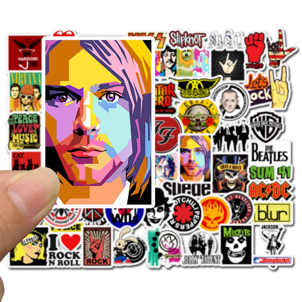 50pcs Rock Roll Punk Hip Hop Music Nirvana Beatles Rolling Stones Queen Guns and Roses Eagles Decals for Electronic Organ Guitar Drum Water Bottle Computer Car Helmet Bike Bumper Band Stickers