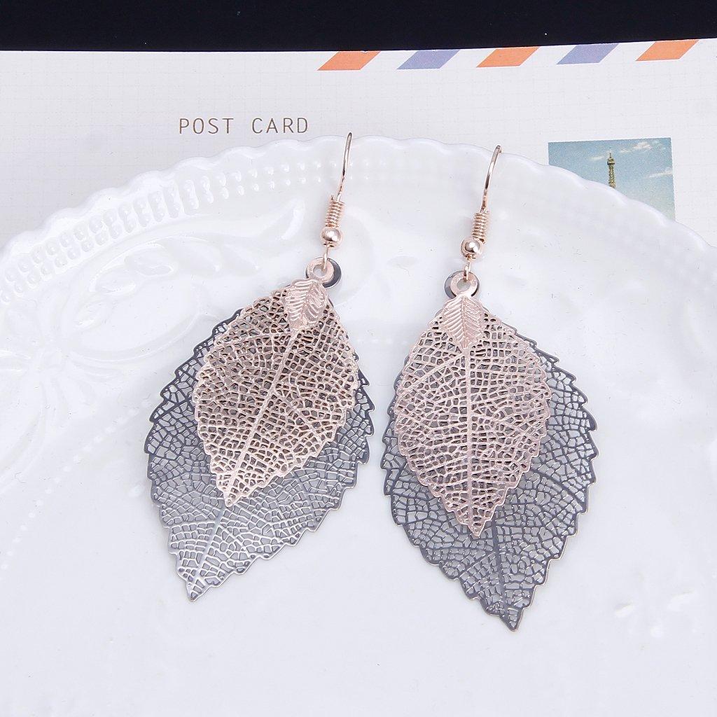 Sixsons79 Sixsons Double Leaf Long Tassels Dangle Earrings Women Girls Jewelry