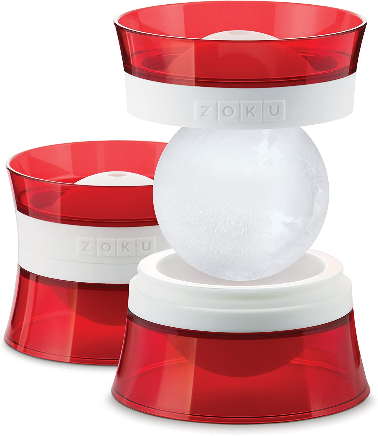Zoku Silicone Ice Sphere Molds, Set of 2 Stackable Ice Ball Molds, Keep Drinks Colder Longer with Less Dilution, Easy-Release, BPA and Phthalate-Free, Red