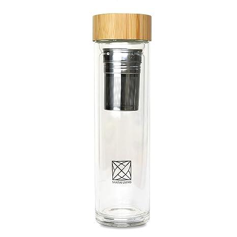 Santai Living Infusor de té de Vidrio | Botella de Vidrio de Doble Pared con Filtro | Botella de té sin BPA con colador de Acero Inoxidable para Hojas ...