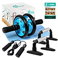 Odoland 4-in-1 AB Wheel Roller Kit AB Roller Pro with Push-Up Bar, Jump Rope and...
