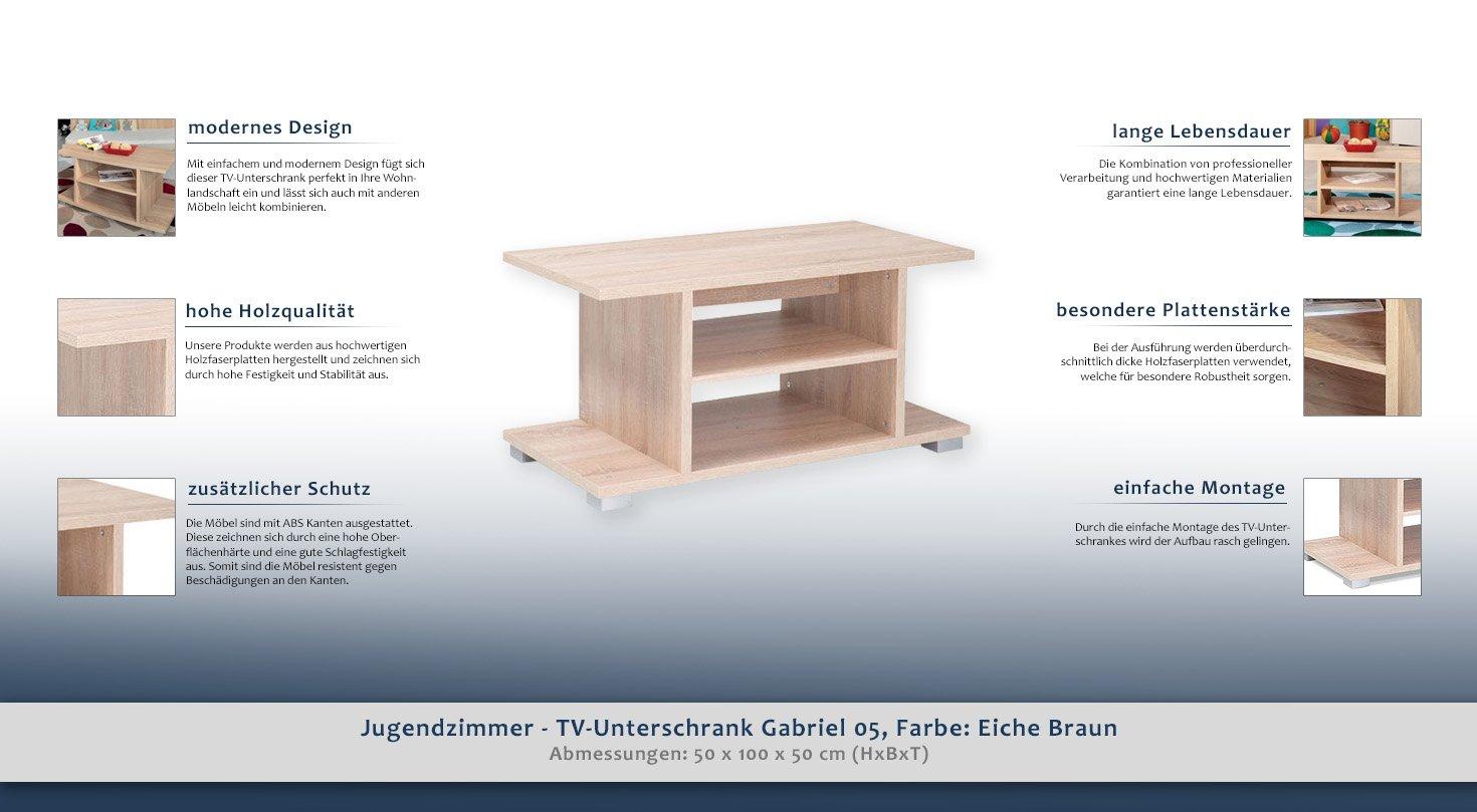 Jugendzimmer - TV-Unterschrank Gabriel 05, Farbe: Eiche Braun - 50 x ...
