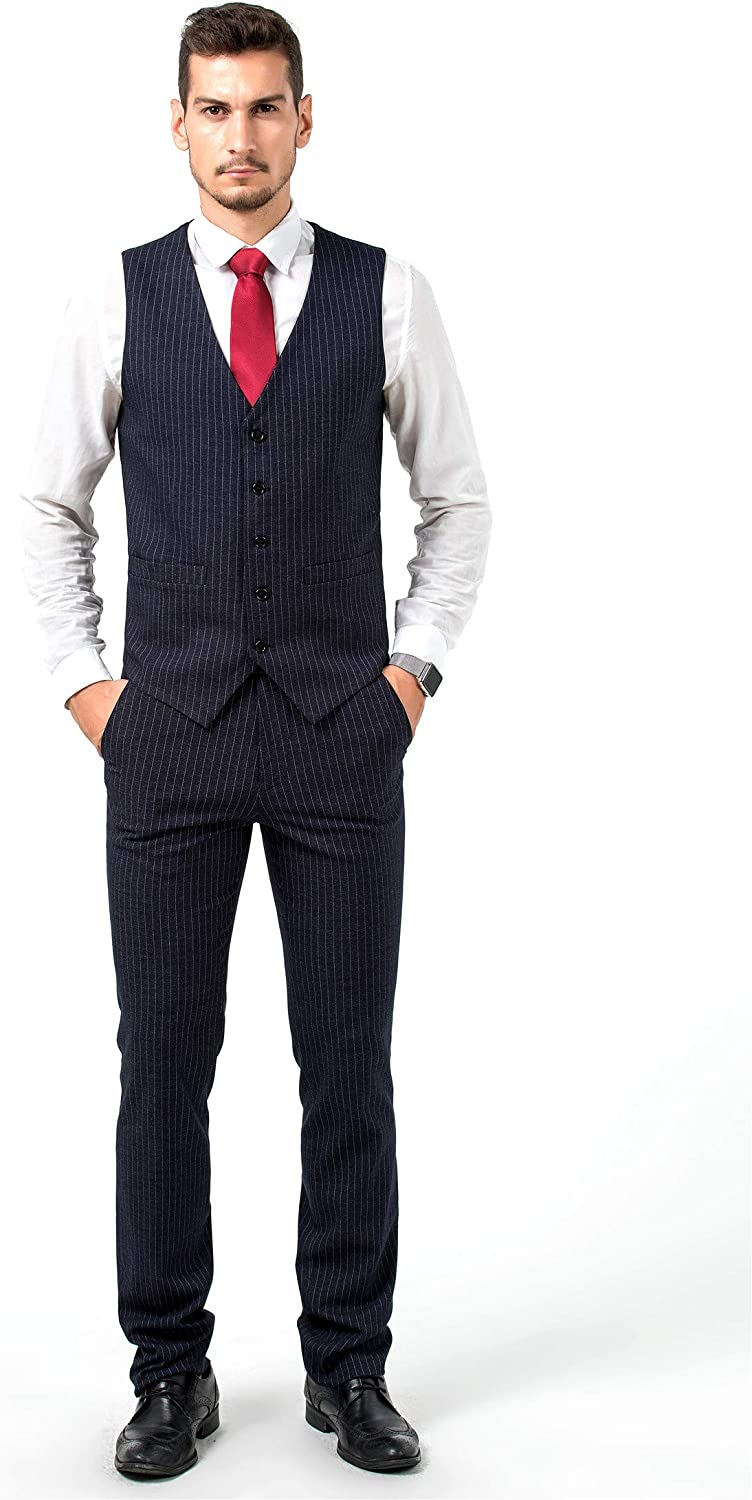 Wxili Suits for Men Business Pinstripe One Button 3-Piece Wedding Jacket Vest /& Pants
