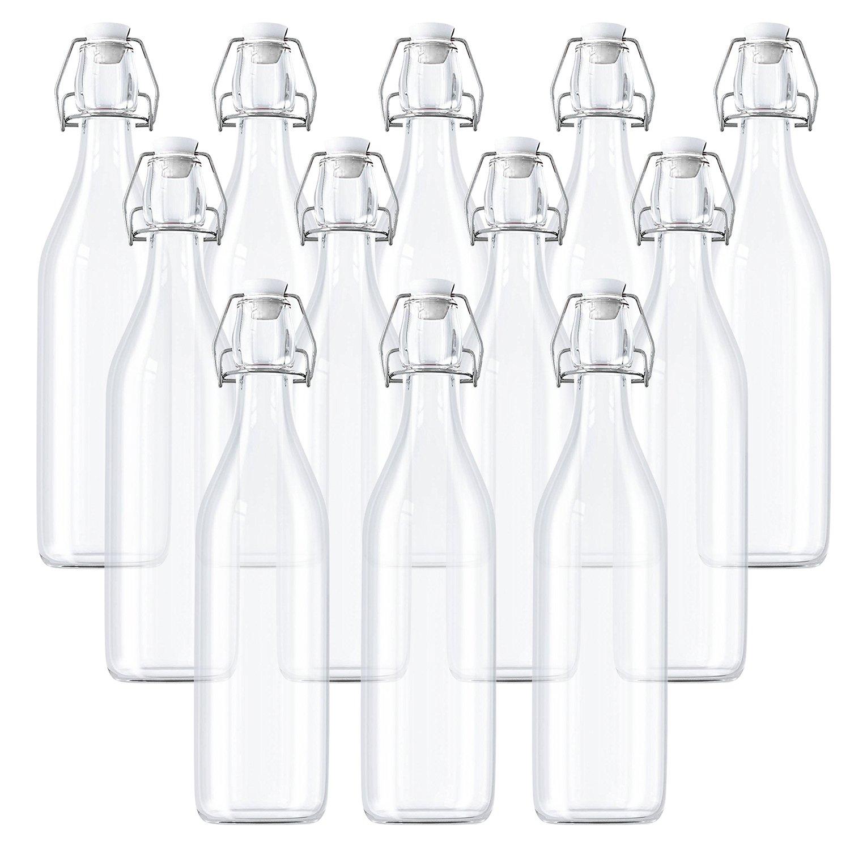 Lot de 12 Bouteilles en Verre / Bouteille en verre avec couvercle - 530 ml Bouteille Verre Transparent pour Jus Frais, Vins, Condiments et Plus - bouteilles en verre avec bouchon à étrier Curtzy CH-452