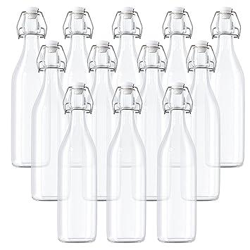 Kurtzy Pack 12 Botellas de Vidrio Herméticas Con Tapón Preservar Líquidos - Botellas 530ml - 18oz