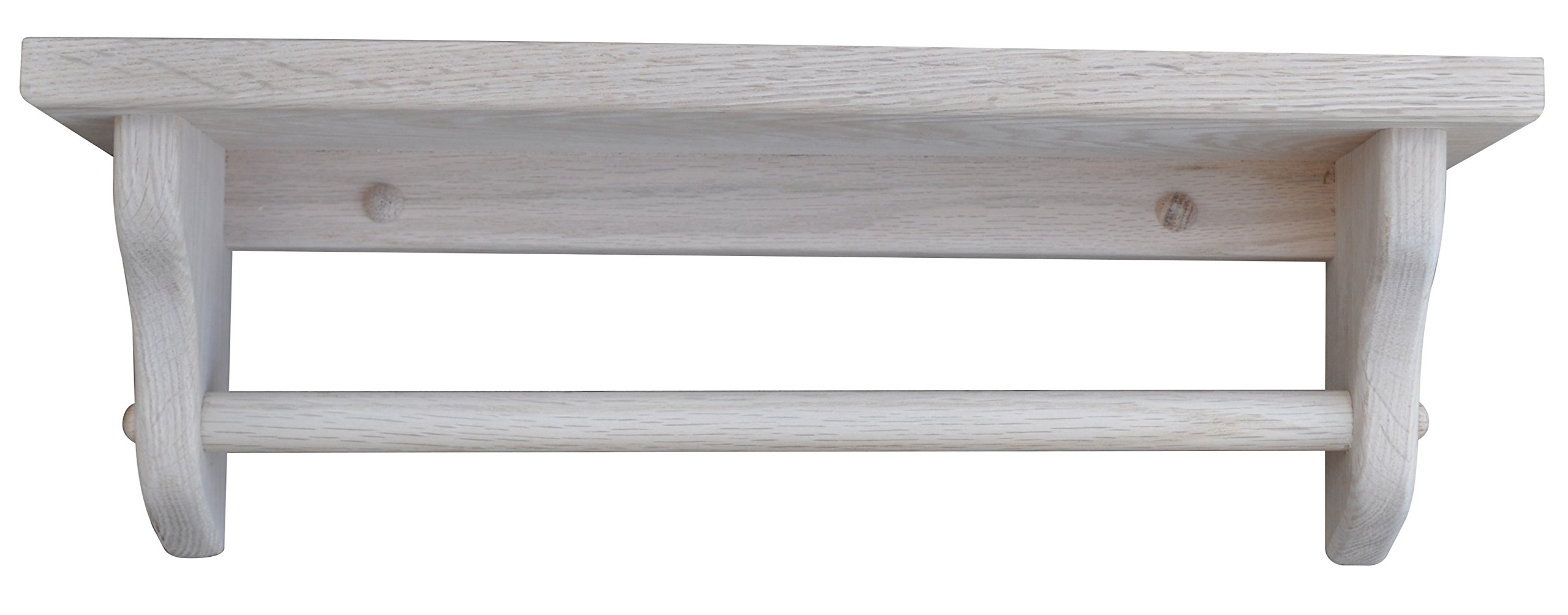 Towel Bar Shelf 24'' Solid Oak Wood - Unfinished