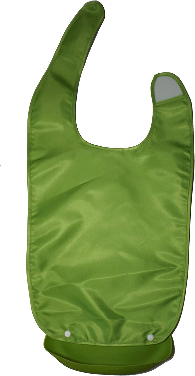 Adult Bib Napkin Apron Waterproof Mealtime Protector Silicone Pocket Detachable Crumb Catcher Easy to Clean Elderly Disabled Patients White-Collars Well-Dressed Grandparents Gift (Green)
