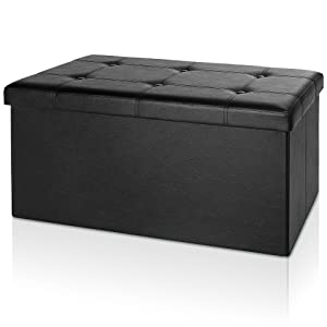 Deuba Banc pliable en MDF avec rangement - Siège Repose-pied Pouf 80x40x40cm noir