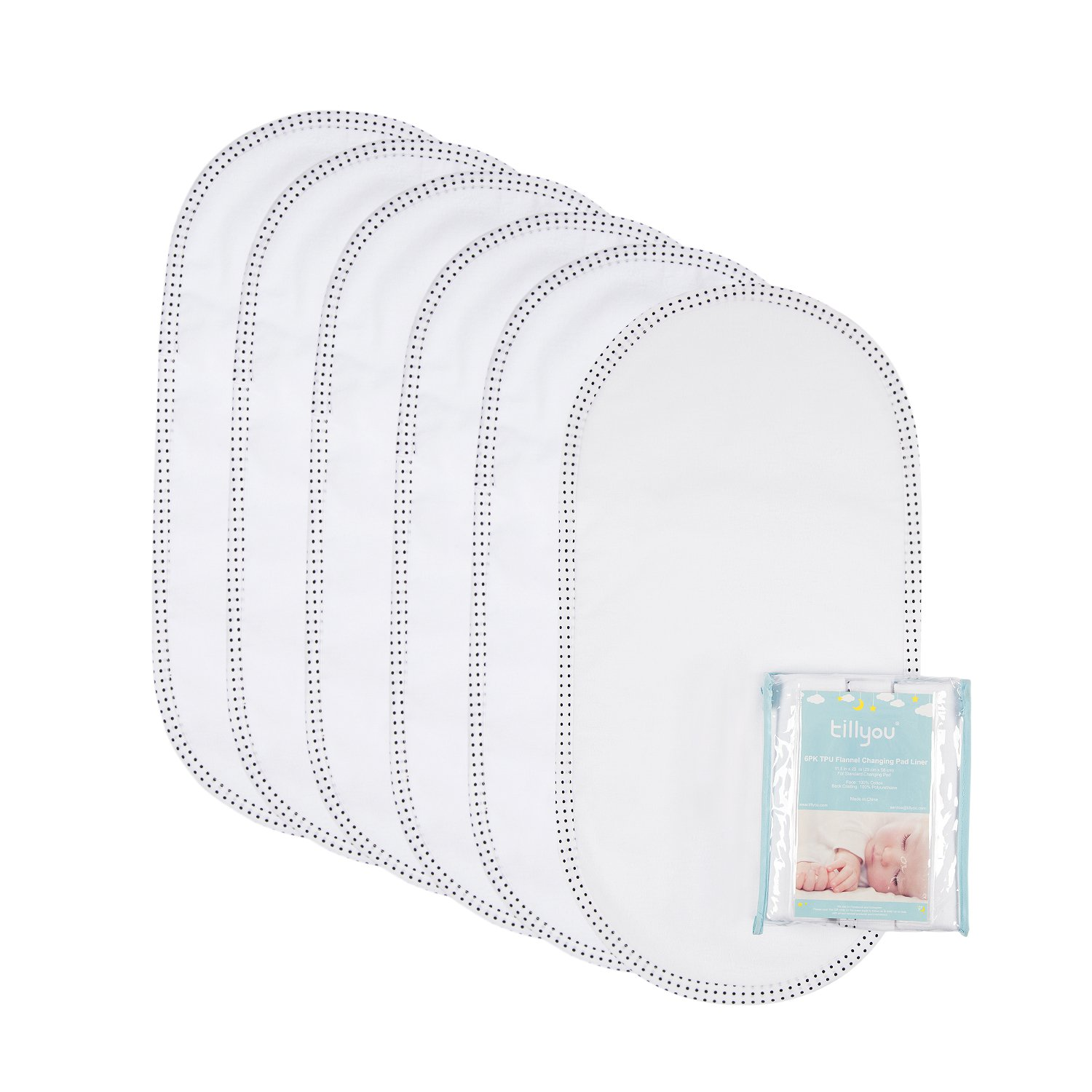 TILLYOU Tear Resistant Waterproof Changing Pad Liner, Premium Changing Table Cover Double Layer, 100% Cotton Flannel Surface and TPU Back Coating, 11.5''x23'', 6 Count