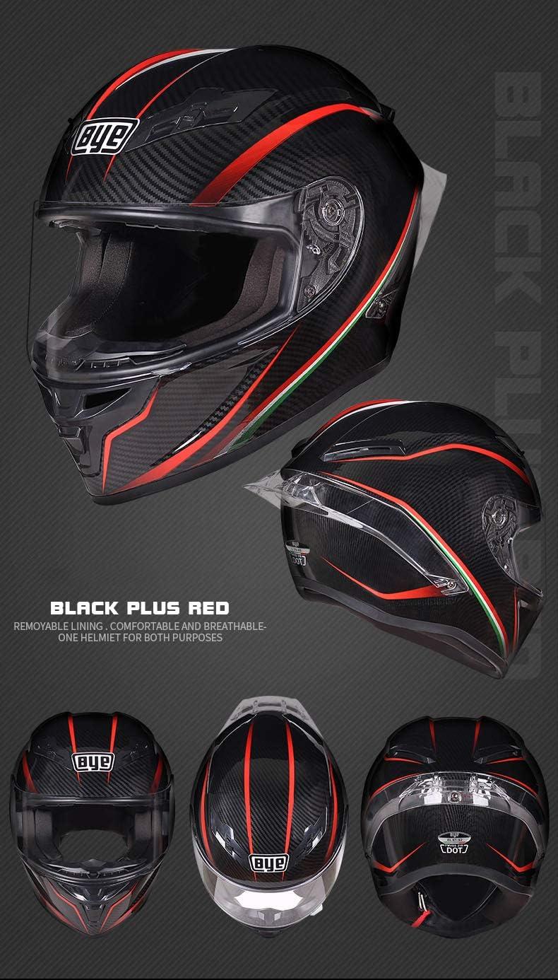 Mangen Full Face Carbon Fiber Motorbike Dual Sport Motorcycle Helmet Urban Scooter Helmets Black Red Trajectory 55-56cm Clear Shield, S