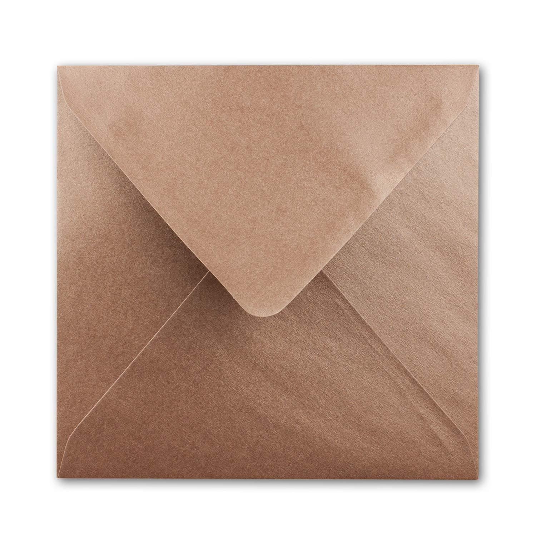 F/ür Einladungen /& Hochzeit! 15,5 x 15,5 cm Farbe Bronze Metallic Quadratische Brief-Umschl/äge 25 St/ück Nassklebung Serie FarbenFroh/®
