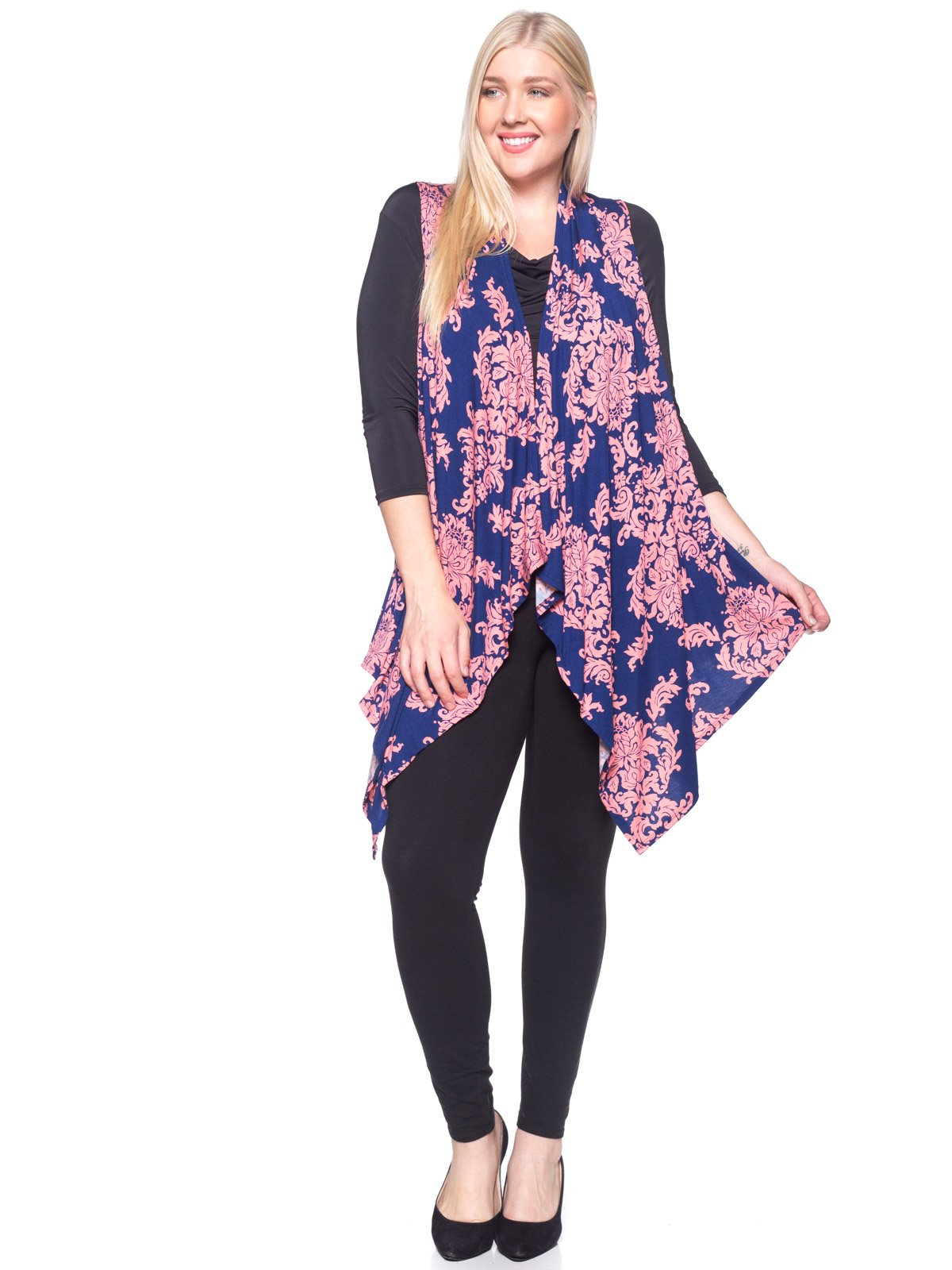 Bold And Beautiful Sleeveless Open Front Cardigan - Drape Duster Vest – Plus Size (S-3X) (Large, Navy/Pink Damask)