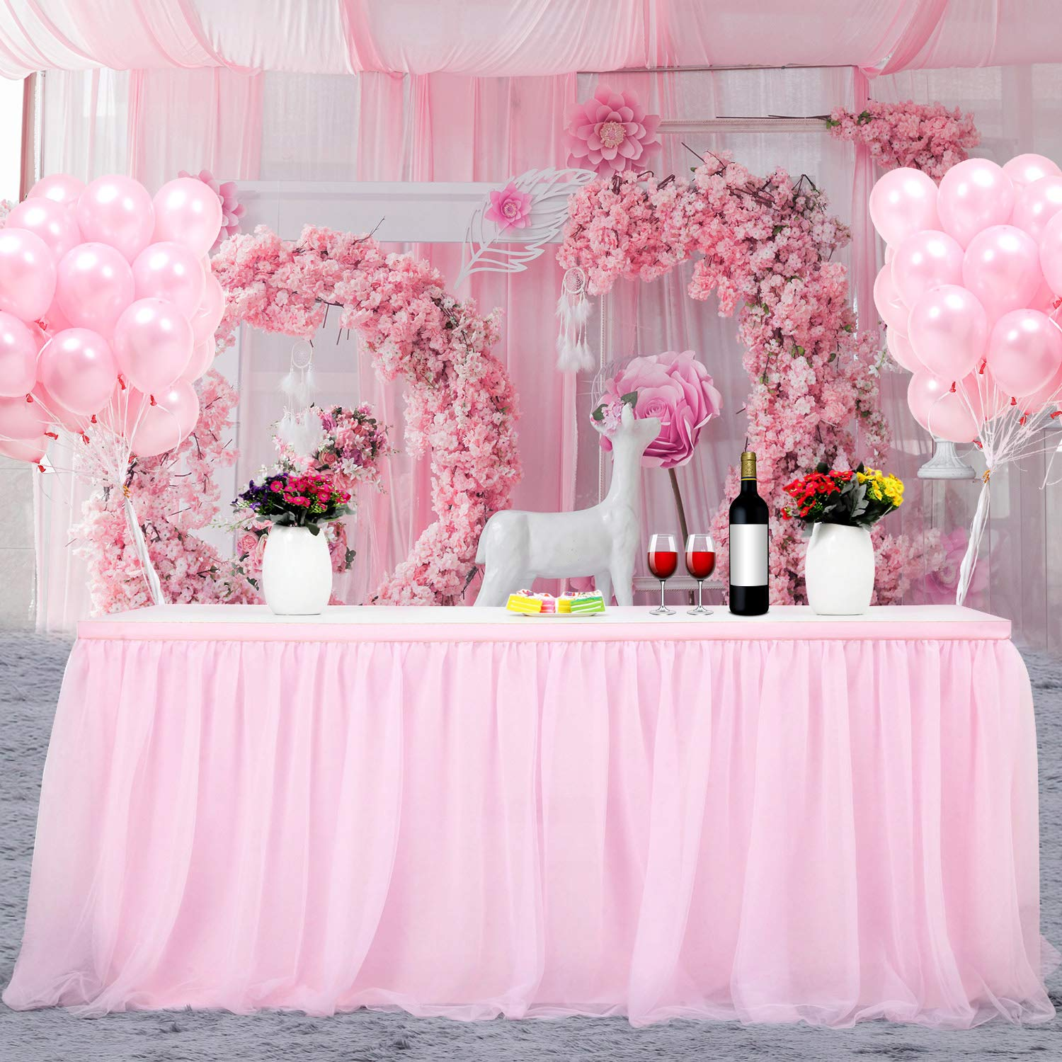 Home Decoration Tulle Table Skirt H30in, Pink Wedding L6 Banquet ft FAMIROSA Tutu Tablecloth Skirting for Rectangle or Round Tables for Party Baby Shower Christmas